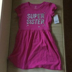 NWT Carter's t-shirt 'Super Sister' dress